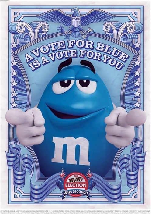 m und ms blau