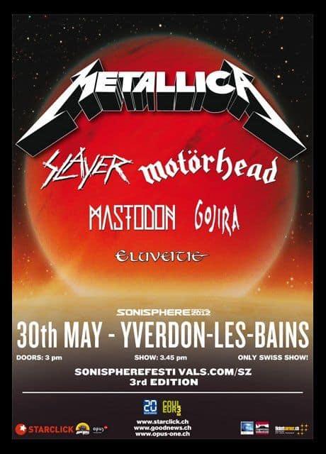 Sonisphere Schweiz 2012: Spielzeiten von Metallica und Co.
