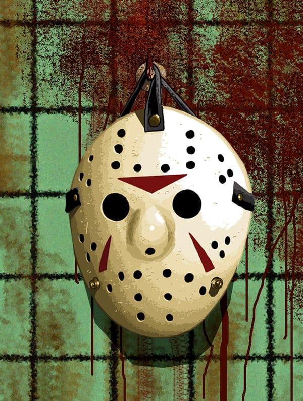 Horror Film Masken an den Nagel gehängt