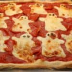 halloween spöke pizza