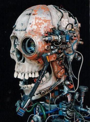 bepansrade cyborg skalle
