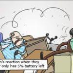 Parkour: Die durchschnittliche Reaktion des Menschen, wenn sie entdecken, dass ihr Computer nur 5% Batterie übrig hat