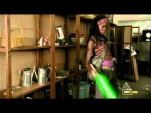Michonne is a Jedi - With a lightsaber against the zombie threat