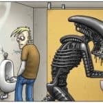 With Alien on toilet