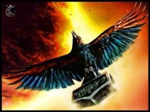 Raven with Mjolnir