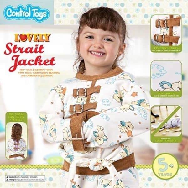 Zwangsjacke und anderes spielzeug um widerspenstige kinder