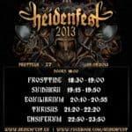 Heidenfest 2013 Pratteln: Running Order