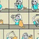 Wie Leute ohne und mit Katze essen