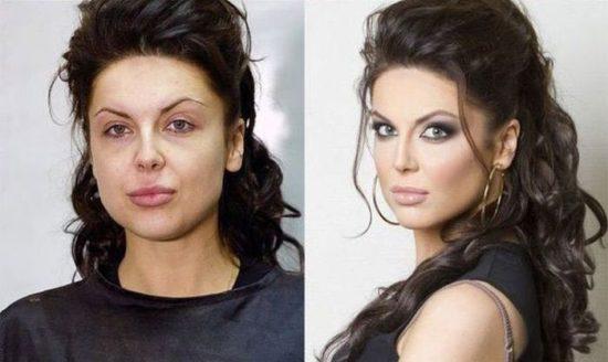 Mädchen mit und ohne Make-up
