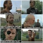 De gouverneur vertelt Rick de harde waarheid. Herschel is geen Kerstman!