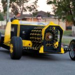 Life size Lego car, which is driven with air
