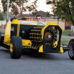Livet størrelse Lego bil, som drives med luft
