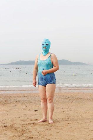 Chinesische Facekini Strandmode Fotografie