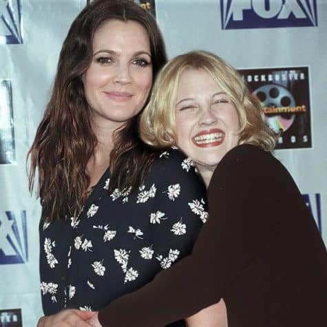 Drew Barrymore - Celebrities together with their younger himself on a Photo