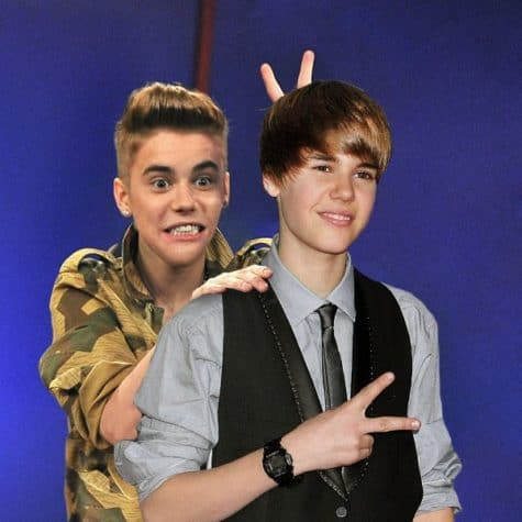 Justin Bieber - Celebrities together with their younger himself on a Photo