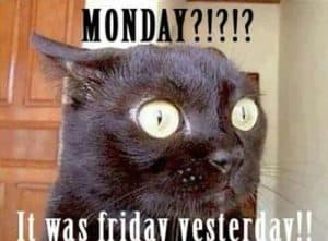 Monday?!!!?!! It was friday yesterday..