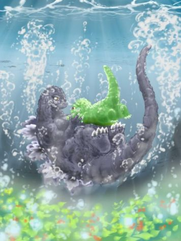 father and Son Godzilla Underwater