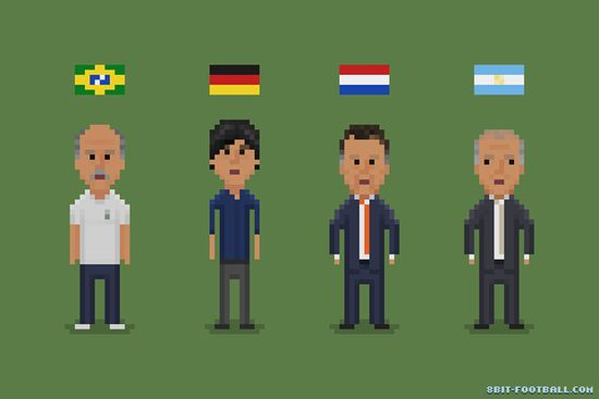 Low,  Scolari and the coaches of the last four World Cup teams