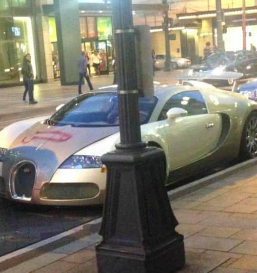 Penis auf einen knapp 2 Mio Euro teuren Bugatti Veyron gemalt