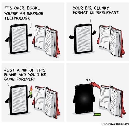 Kirjat vs. E-lukijat