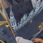 Climbing a crane for sunrise in Munich