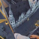Climbing a crane for sunrise in Munich