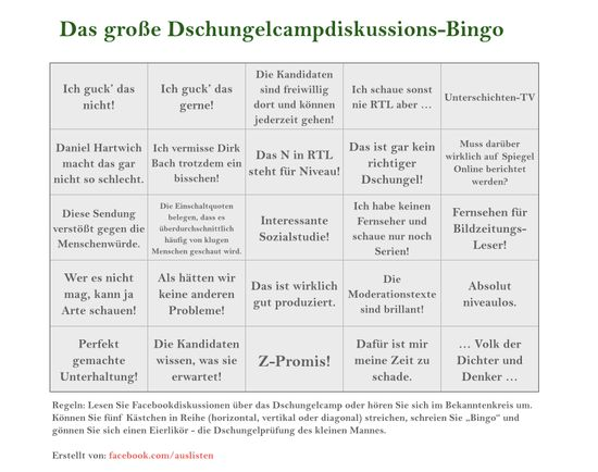 Den store jungle lejr Bingo