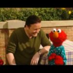 Ricky Gervais and Elmo on Sesame Street