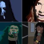 """De Big Four"" 8-Bit Video Game prestatie. Metallica, Moordenaar, Megadeth en Anthrax"