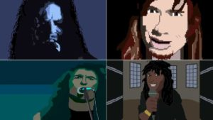"""The Big Four"" 8-Bit Video Game prestatie. Metallica, Moordenaar, Megadeth en Anthrax"