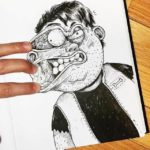 Alex Solis vulgarities with his drawings
