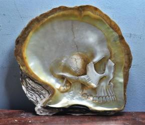 Schädel in Perlmutt geschnitzt