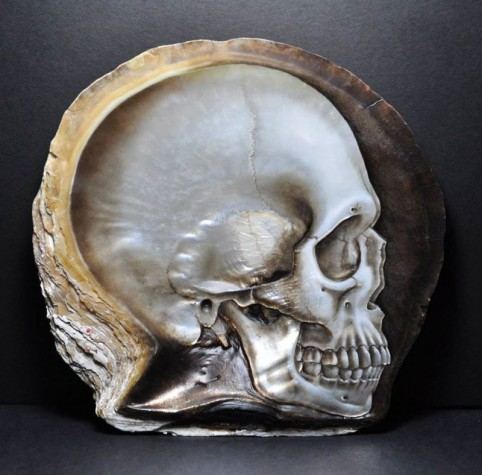 Skull carved in mother