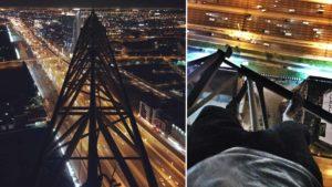Auf einem Kran in Dubai