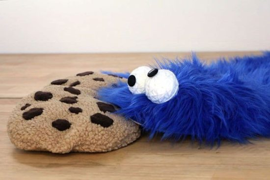 DIY Cookie Monster Fur Rug with Biscuit Pillow