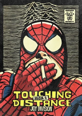 Ian Curtis of Joy Division as Spiderman with ...