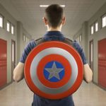 Captain America's shield as a rucksack on his back