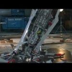 Giant Star Wars Lego Star Destroyer shattered on the ground