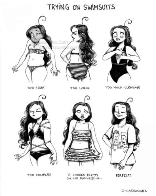 As women try on swimsuits