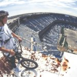 BMX ride in the deserted Silverdome Stadium in Detroit