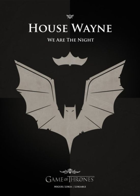 Game of Thrones crest mixed with pop culture figures