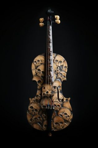 Handmade violin with Skulls