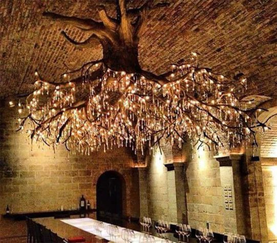 Chandelier from a tree root