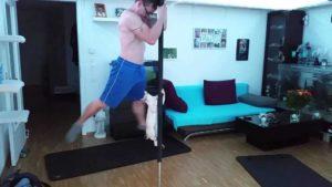 Poledance: Diese Katze zeigt an der Stange, was sie kann.