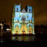Animated Light Show on Gothic Cathedral