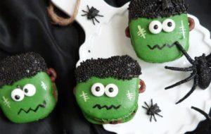 Gruselige Frankenstein Macarons selbstgebacken