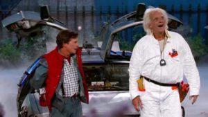 """""""2015 ist ziemlich Scheisse"""": Marty McFly y Doc Brown conducido por Jimmy Kimmel"""