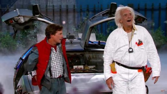 """2015 ist ziemlich Scheisse"": Marty McFly en Doc Brown gehost door Jimmy Kimmel"