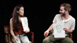 Partnere beskrive en skitse kunstner