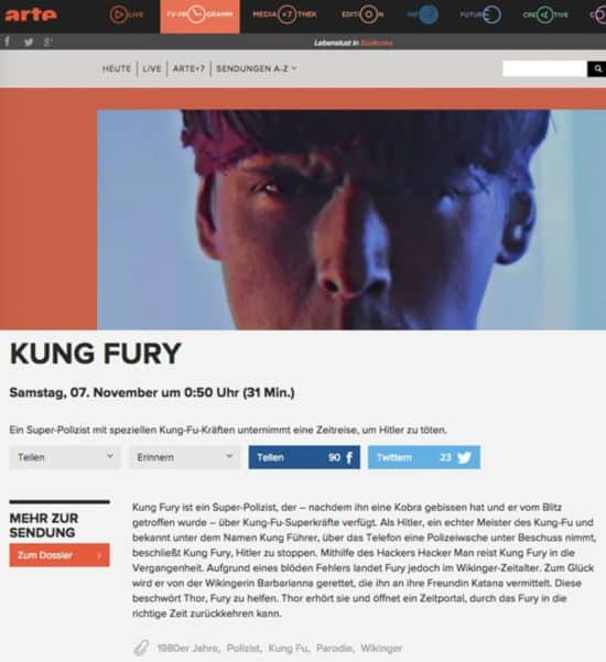 TV-Tip of the Day: Kung Fury sur Arte